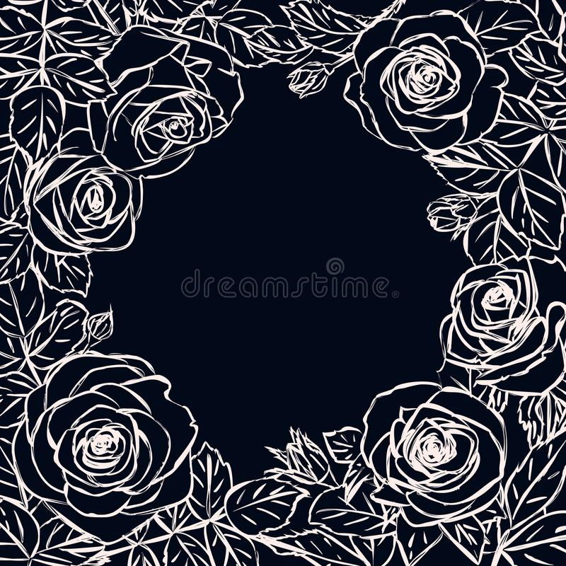 Στρογγυλό πρότυπο πλαισίων με τα τριαντάφυλλα περιλήψεων chalkboard ελεύθερη απεικόνιση δικαιώματος