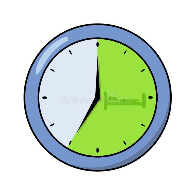 Στρογγυλό ρολόι γραφείων που παρουσιάζει ρολόι επτά ο ` Επίπεδο εικονίδιο σχεδίου Επίπεδη διανυσματική απεικόνιση η ανασκόπηση απ απεικόνιση αποθεμάτων
