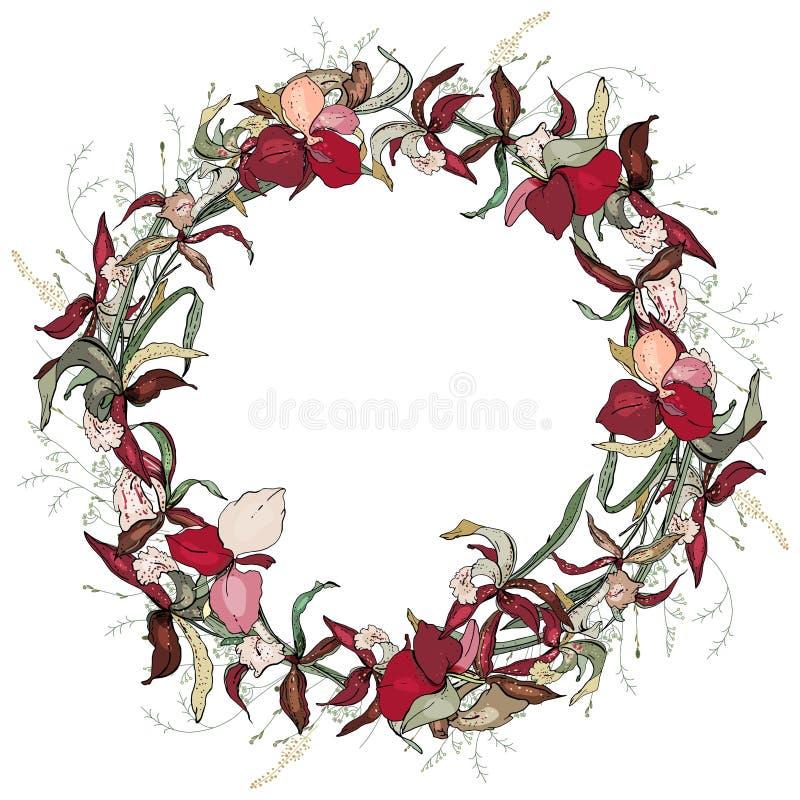 Στρογγυλό ρομαντικό floral πλαίσιο φιαγμένο από ορχιδέες διανυσματική απεικόνιση