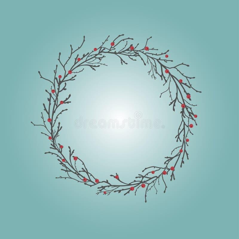 Στρογγυλό στεφάνι με τους μαύρους κλάδους και τους κλαδίσκους και τα κόκκινα μούρα Γιρλάντα φθινοπώρου στον γκρίζο μπλε ουρανό απεικόνιση αποθεμάτων
