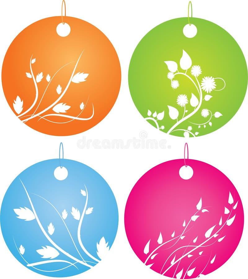 στρογγυλό σύνολο διακοσμήσεων διακριτικών floral διανυσματική απεικόνιση