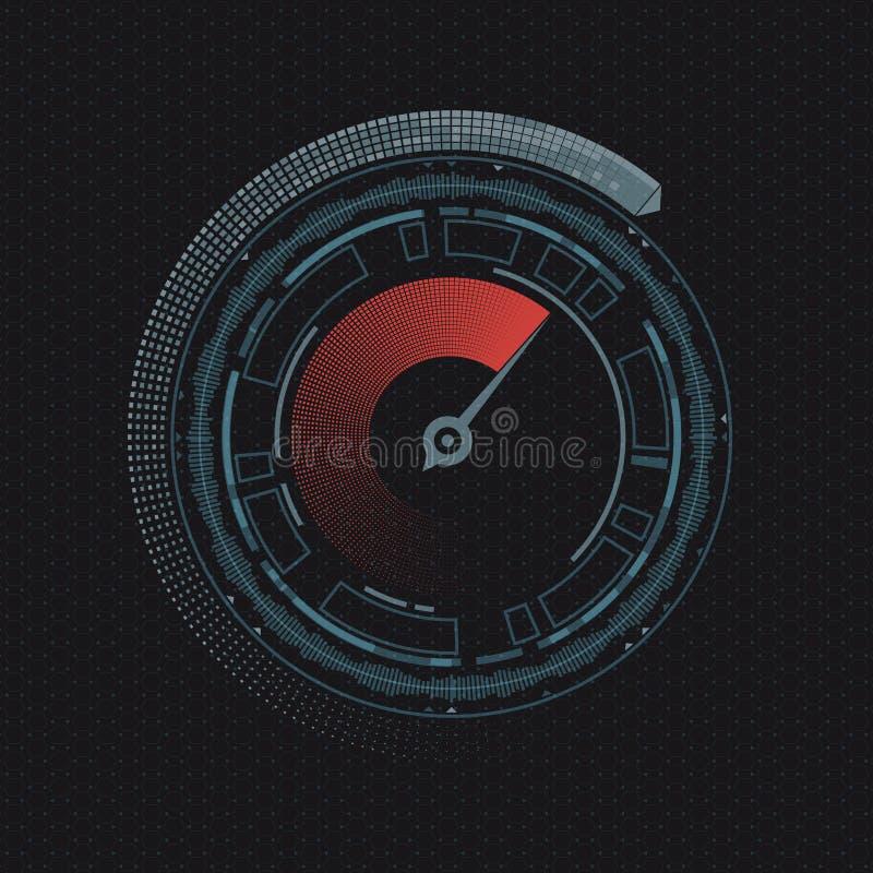 Στρογγυλό ταχύμετρο με ένα βέλος διανυσματική απεικόνιση