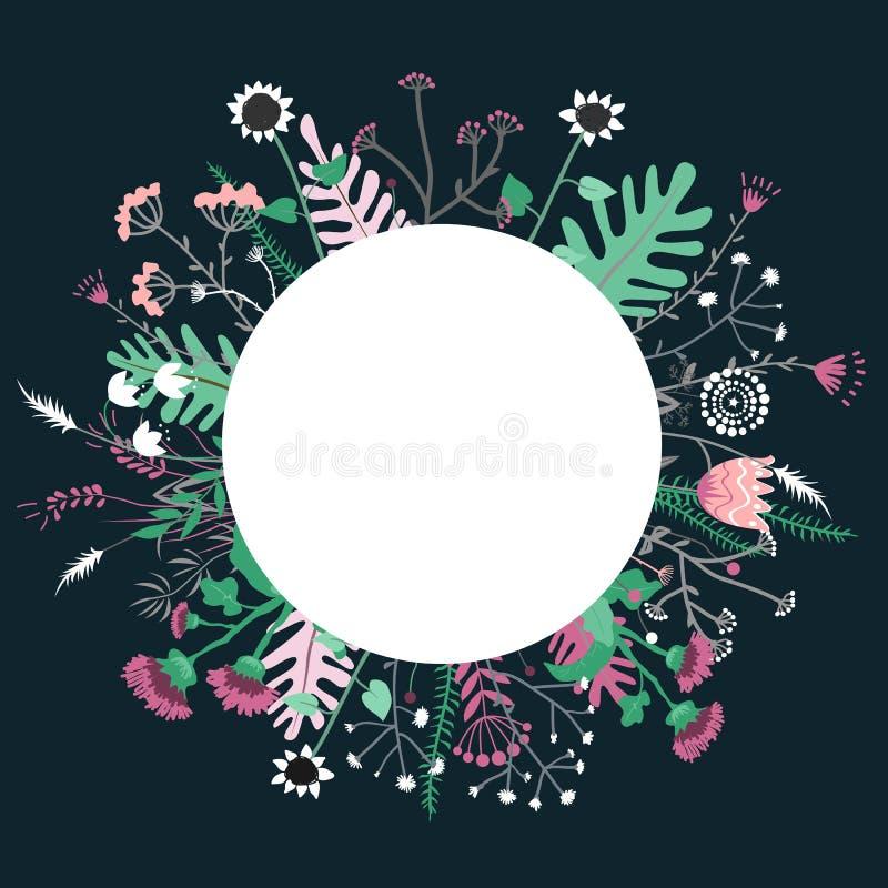 Στρογγυλό χέρι στεφανιών λουλουδιών doodles που επισύρεται την προσοχή π διανυσματική απεικόνιση