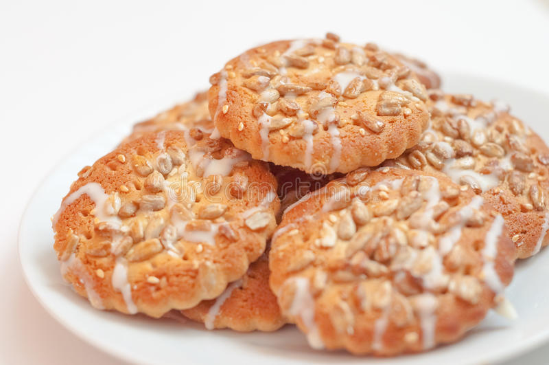 Στρογγυλά μπισκότα με τους σπόρους ηλίανθων και σουσαμιού, μικρό βάθος του FI στοκ εικόνα