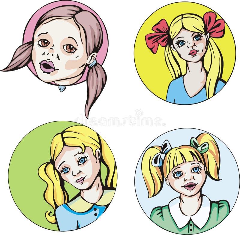 Στρογγυλά πορτρέτα των νέων χαριτωμένων κοριτσιών με τις πλεξίδες απεικόνιση αποθεμάτων