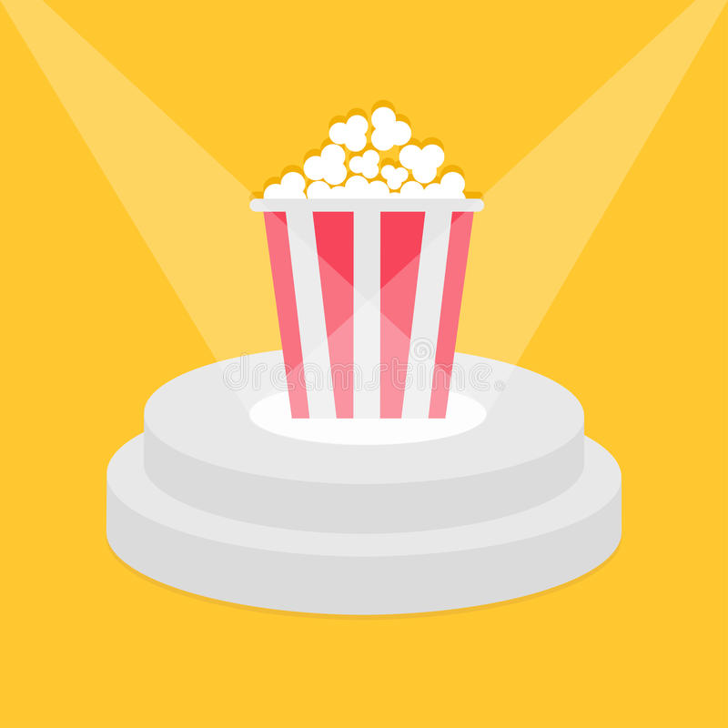 Στρογγυλή εξέδρα που φωτίζεται σκηνική από τα επίκεντρα Popcorn κόκκινο άσπρο κιβώτιο λουρίδων Βάθρο για την επίδειξη τρισδιάστατ ελεύθερη απεικόνιση δικαιώματος