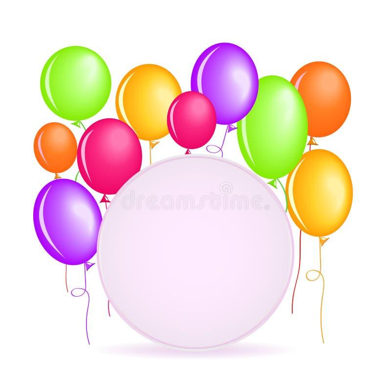 Στρογγυλή ετικέτα με τα ζωηρόχρωμα μπαλόνια Brigth ελεύθερη απεικόνιση δικαιώματος