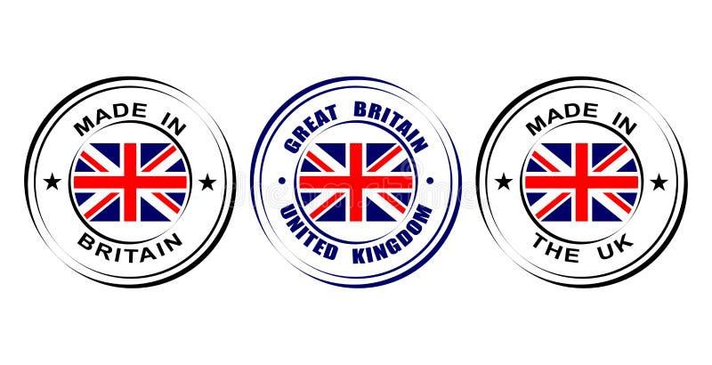 Στρογγυλή ετικέτα που γίνεται ` Μεγάλη Βρετανία, Ηνωμένο Βασίλειο ` με τη σημαία απεικόνιση αποθεμάτων