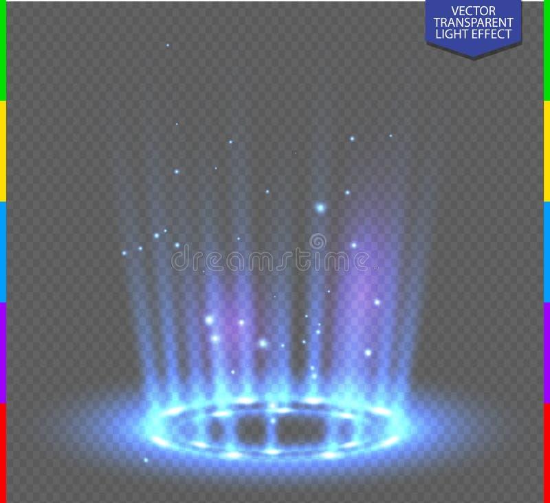 Στρογγυλή μπλε σκηνή νύχτας ακτίνων πυράκτωσης με τους σπινθήρες στο διαφανές υπόβαθρο απεικόνιση αποθεμάτων