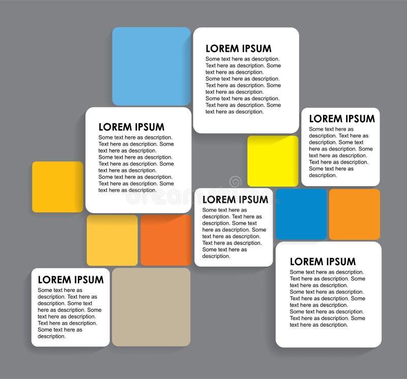 Στρογγυλευμένα ζωηρόχρωμα τετράγωνα εγγράφου - infographic εμβλήματα διανυσματική απεικόνιση