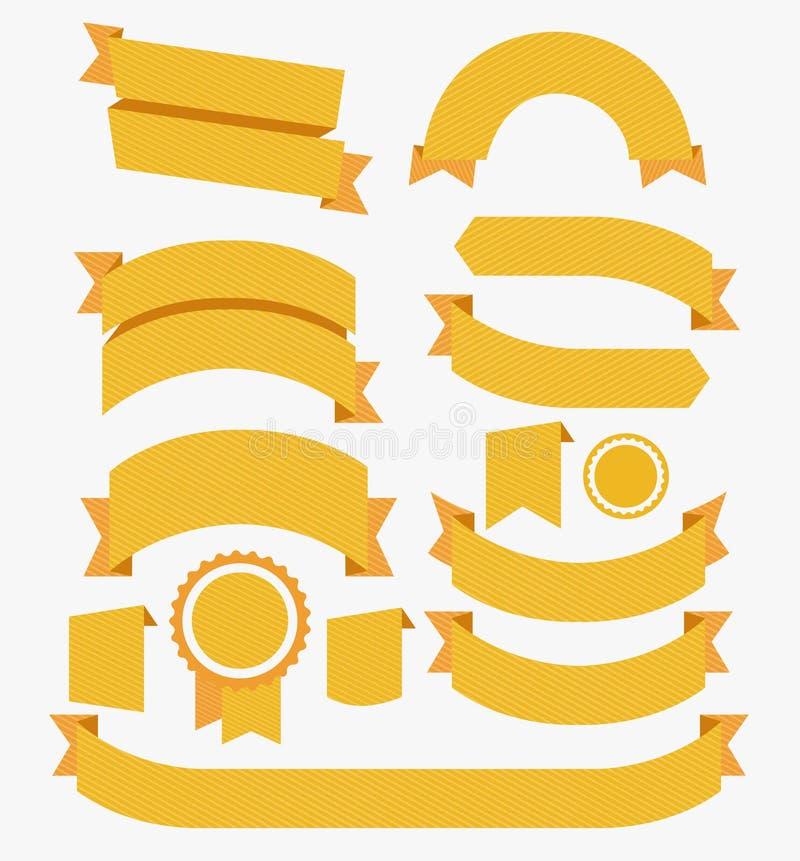 Στρογγυλός καθορισμένος κίτρινος σχεδίου κορδελλών επίπεδος διάνυσμα ελεύθερη απεικόνιση δικαιώματος