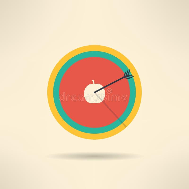 Στρογγυλός πίνακας στόχων με το βέλος στο κέντρο μήλων ελεύθερη απεικόνιση δικαιώματος