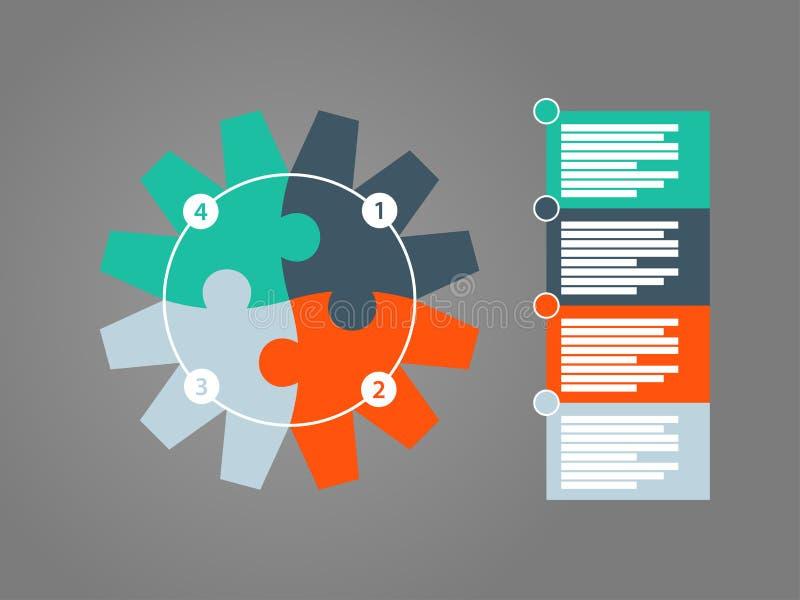 Στρογγυλό γρίφων εργαλείων πρότυπο διαγραμμάτων παρουσίασης infographic με τον αριθμημένο επεξηγηματικό τομέα κειμένων Διανυσματι απεικόνιση αποθεμάτων