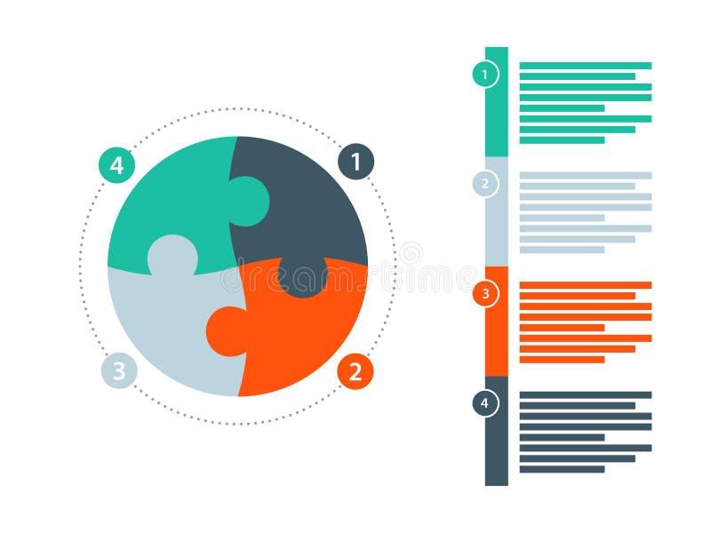 Στρογγυλό γρίφων εργαλείων πρότυπο διαγραμμάτων παρουσίασης infographic με τον αριθμημένο επεξηγηματικό τομέα κειμένων Διανυσματι ελεύθερη απεικόνιση δικαιώματος
