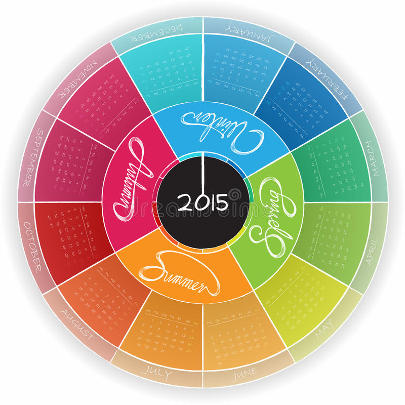 Στρογγυλό ημερολογιακό σχέδιο 2015 ελεύθερη απεικόνιση δικαιώματος