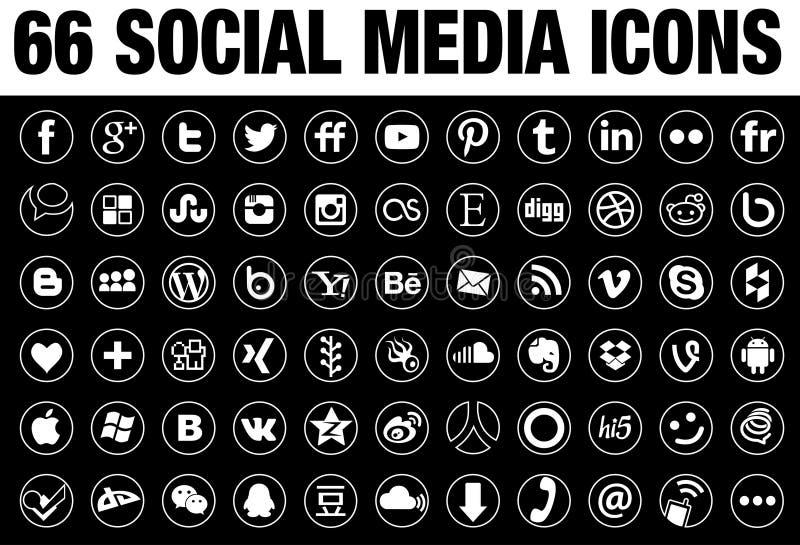 66 στρογγυλό κοινωνικό λευκό εικονιδίων MEDIA με τα σύνορα κασσίτερου απεικόνιση αποθεμάτων