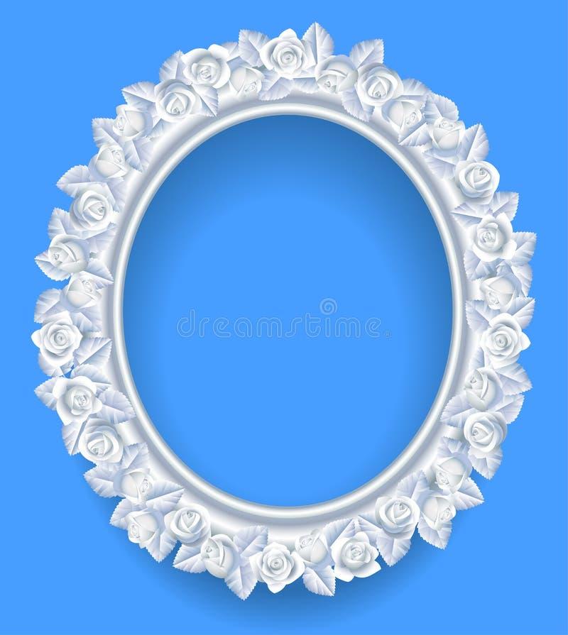 Στρογγυλό κλασικό πλαίσιο με το άσπρο στεφάνι τριαντάφυλλων στο μπλε απεικόνιση αποθεμάτων