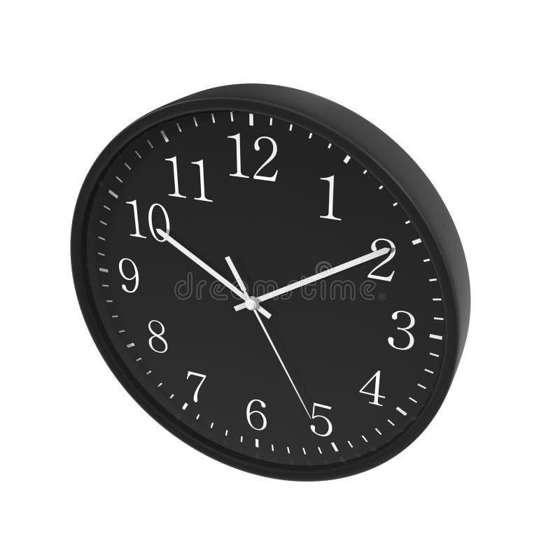 Στρογγυλό μαύρο ρολόι γραφείων στο λευκό τρισδιάστατη απεικόνιση διανυσματική απεικόνιση