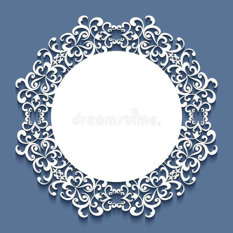 Στρογγυλό πλαίσιο δαντελλών, πρότυπο γαμήλιας πρόσκλησης διανυσματική απεικόνιση