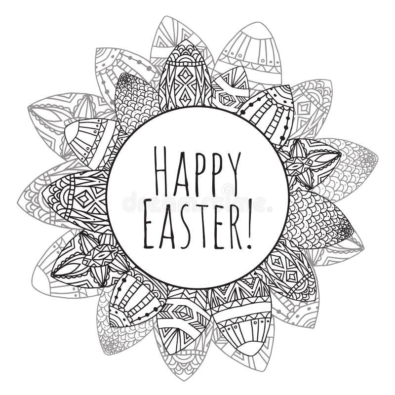 Στρογγυλό πλαίσιο με τα αυγά Πάσχας με το σχέδιο zentangle doodle διανυσματική απεικόνιση