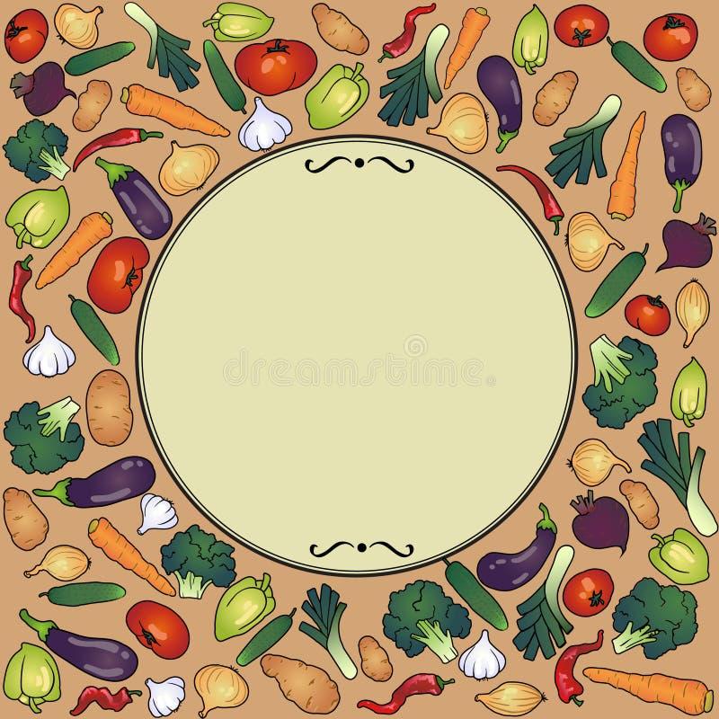 Στρογγυλό πλαίσιο με τα λαχανικά διανυσματική απεικόνιση