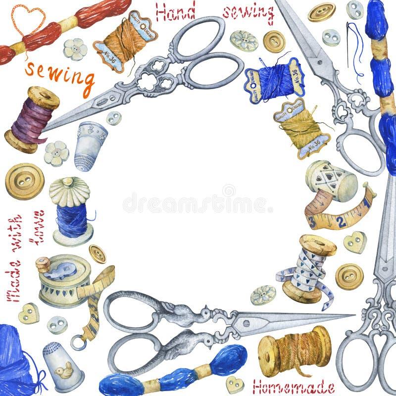 Στρογγυλό πλαίσιο με τα διάφορα εκλεκτής ποιότητας αντικείμενα για το ράψιμο, τη βιοτεχνία και χειροποίητος απεικόνιση αποθεμάτων