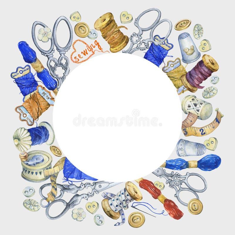 Στρογγυλό πλαίσιο με τα διάφορα εκλεκτής ποιότητας αντικείμενα για το ράψιμο, τη βιοτεχνία και χειροποίητος διανυσματική απεικόνιση