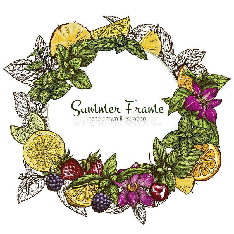 Στρογγυλό πλαίσιο με τα διαφορετικά φρούτα και τα μούρα ελεύθερη απεικόνιση δικαιώματος
