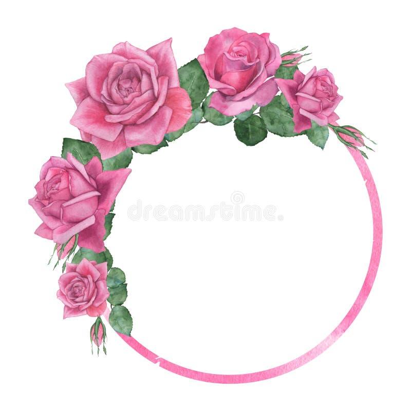 Στρογγυλό πλαίσιο των τριαντάφυλλων ελεύθερη απεικόνιση δικαιώματος
