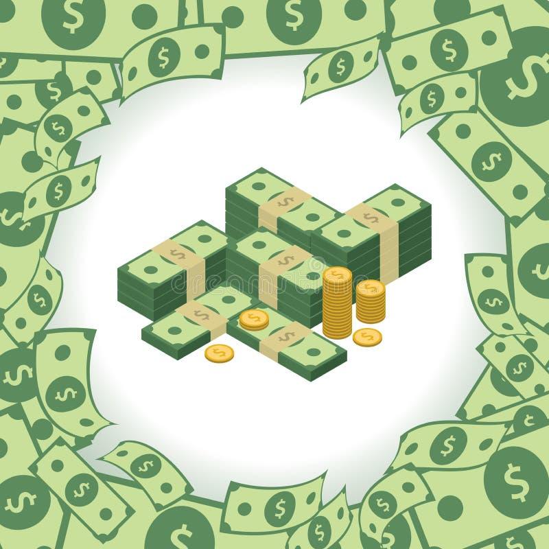 Στρογγυλό πλαίσιο φιαγμένο από δολάρια Στοίβα των χρημάτων Στοιχείο για την επιχειρησιακή παρουσίασή σας απεικόνιση αποθεμάτων