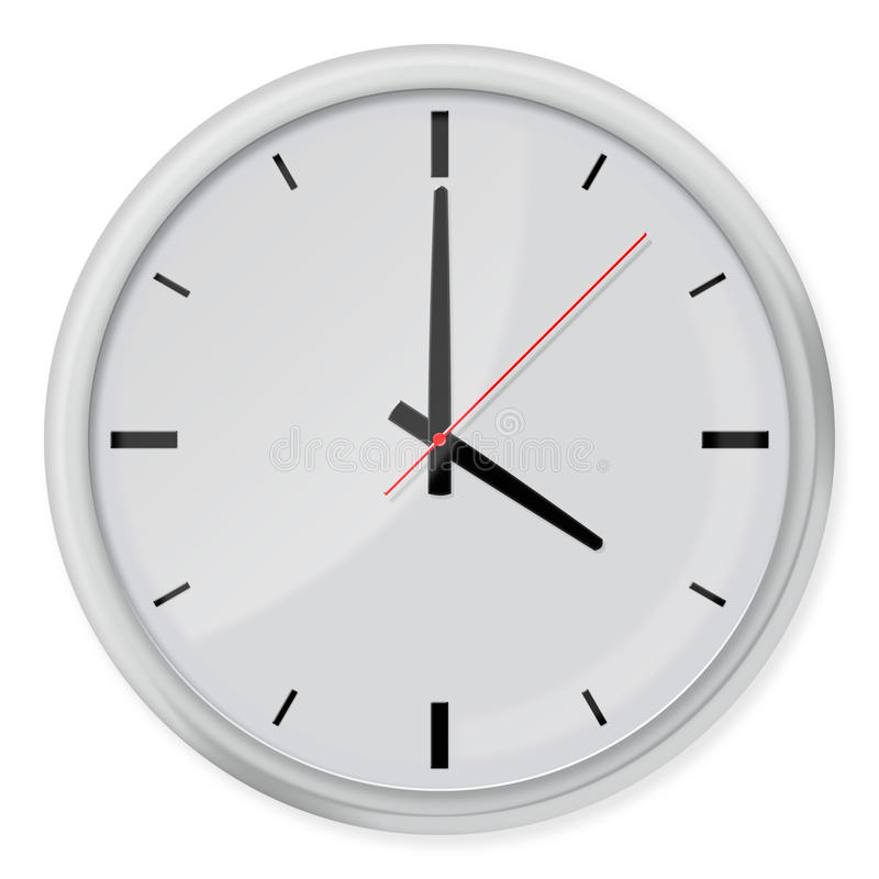 Στρογγυλό ρολόι τοίχων με τις σκιές στο άσπρο υπόβαθρο απεικόνιση αποθεμάτων