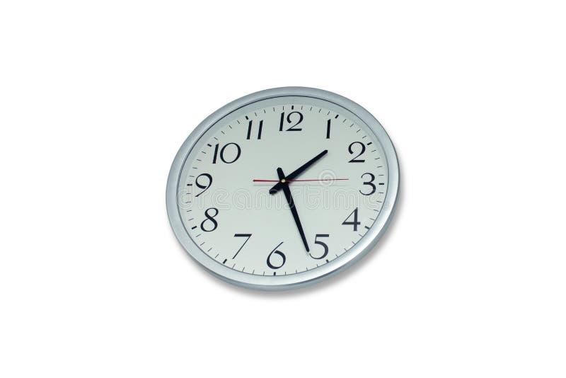 Στρογγυλό ρολόι τοίχων, που απομονώνεται στο λευκό στοκ φωτογραφία με δικαίωμα ελεύθερης χρήσης