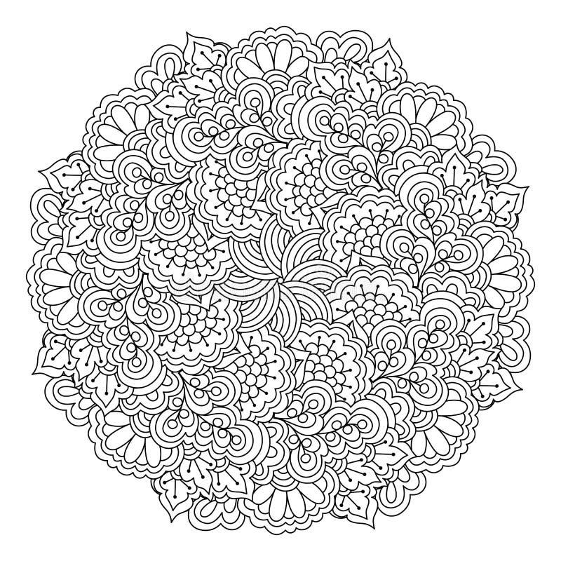 Στρογγυλό στοιχείο για το χρωματισμό του βιβλίου μαύρο λευκό προτύπων λουλουδιών πεταλούδων floral διανυσματική απεικόνιση