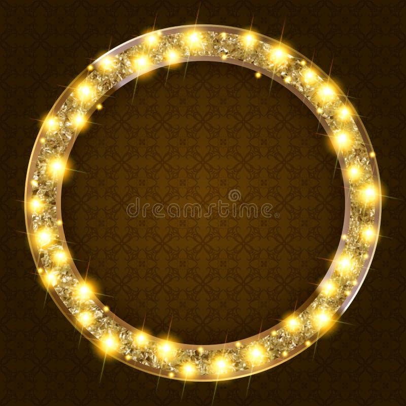 Στρογγυλό χρυσό πλαίσιο με τα φω'τα σε ένα σκοτεινό υπόβαθρο ελεύθερη απεικόνιση δικαιώματος