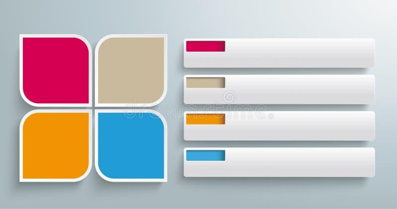 Στρογγυλό Quadrates ετικέττες 4 κομματιών διανυσματική απεικόνιση