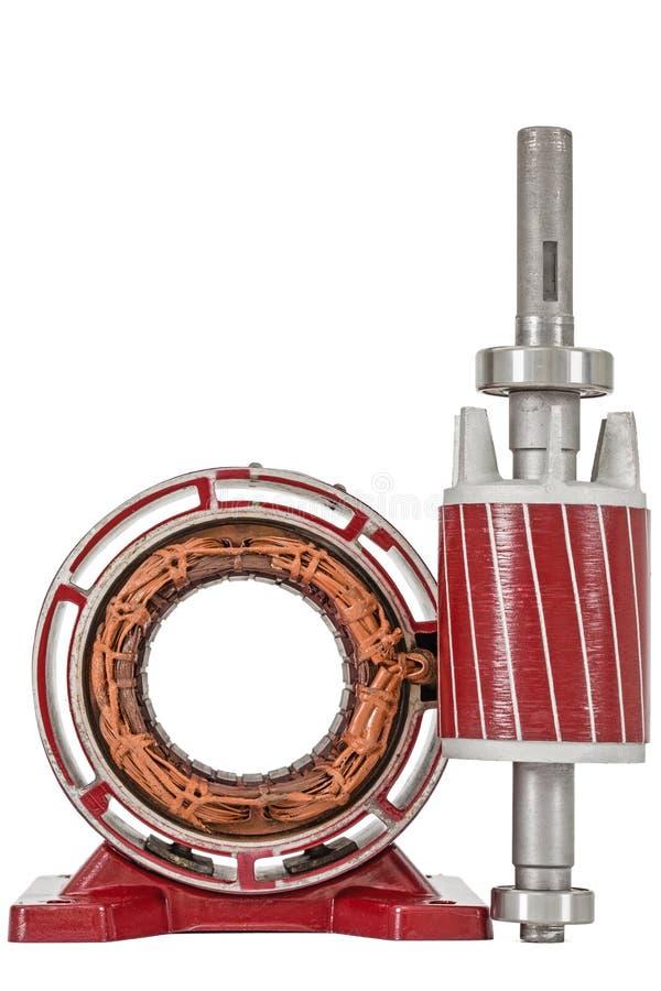 Στροφέας και στάτης του ηλεκτρικού κινητήρα, που απομονώνονται στο άσπρο υπόβαθρο στοκ εικόνα με δικαίωμα ελεύθερης χρήσης