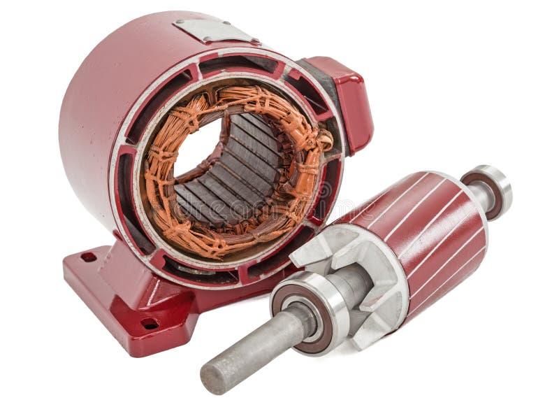 Στροφέας και στάτης του ηλεκτρικού κινητήρα, που απομονώνονται στο άσπρο υπόβαθρο στοκ εικόνες με δικαίωμα ελεύθερης χρήσης