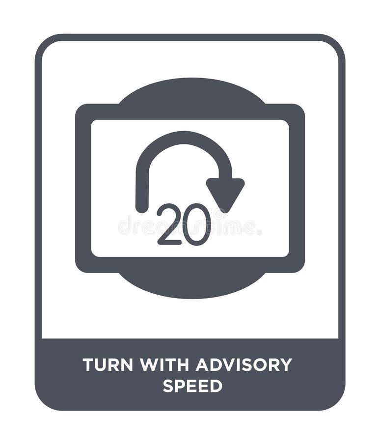 στροφή με το συμβουλευτικό εικονίδιο ταχύτητας στο καθιερώνον τη μόδα ύφος σχεδίου στροφή με το συμβουλευτικό εικονίδιο ταχύτητας απεικόνιση αποθεμάτων