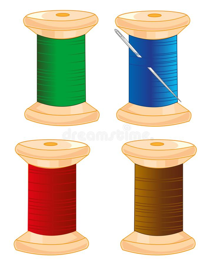 Στροφία με το νήμα και τη βελόνα χρώματος επίσης corel σύρετε το διάνυσμα απεικόνισης διανυσματική απεικόνιση