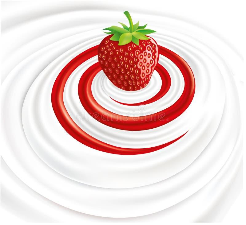 Στρόβιλος γάλακτος με τη φρέσκια φράουλα διανυσματική απεικόνιση