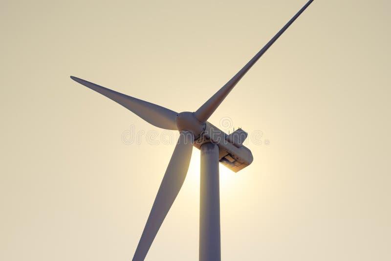 Στρόβιλος γεννητριών αέρα στο φωτεινό φως ήλιων στον ουρανό Bacground βραδιού Πράσινη έννοια ανανεώσιμης ενέργειας στοκ φωτογραφίες