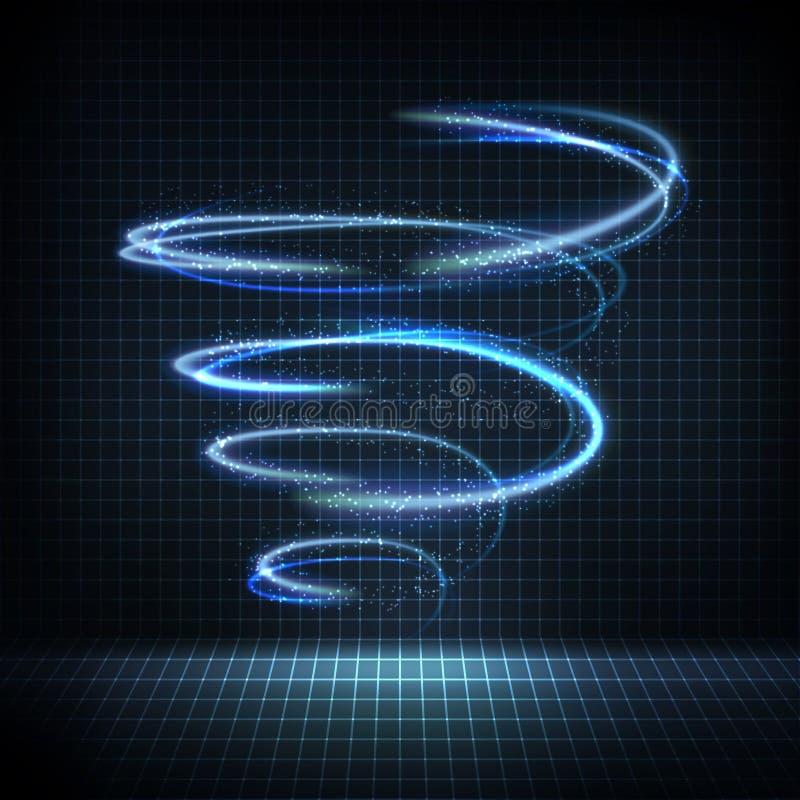 Στρόβιλος πυράκτωσης με τις διαστρεβλωμένες γραμμές, φωτεινά σπινθηρίσματα διανυσματική απεικόνιση
