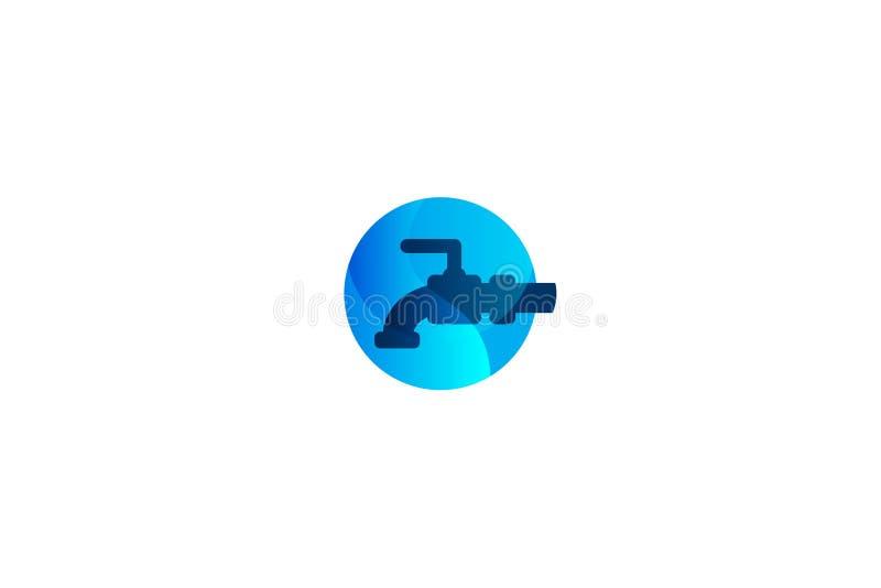 στρόφιγγα υδροσωλήνων, έμπνευση λογότυπων λογότυπων υδραυλικών που απομονώνεται στο άσπρο υπόβαθρο ελεύθερη απεικόνιση δικαιώματος