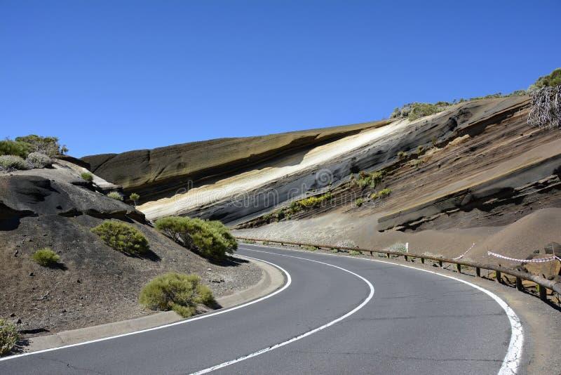 Στρώματα του ηφαιστειακού βράχου, Tenerife, Κανάρια νησιά, Ισπανία, Ευρώπη στοκ φωτογραφίες