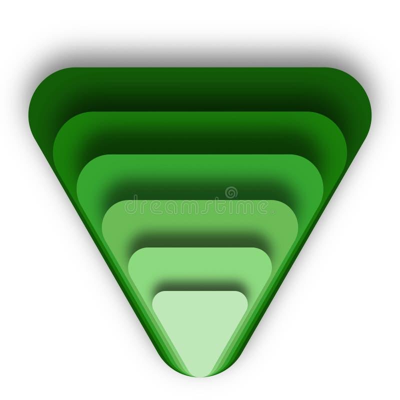 Στρώματα του πράσινου συσσωρευμένου τρίγωνα επάνω σχεδίου απεικόνιση αποθεμάτων