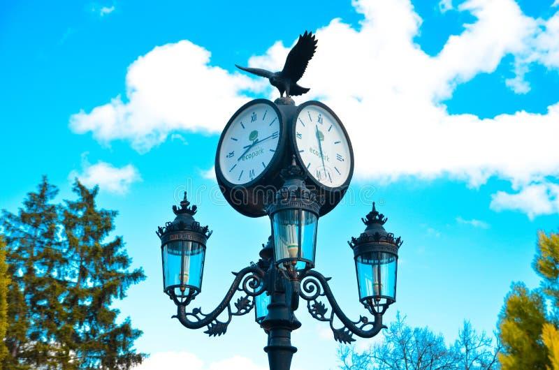 Στυλοβάτης με ένα ρολόι και ένας λαμπτήρας στο eco-πάρκο στοκ φωτογραφίες με δικαίωμα ελεύθερης χρήσης