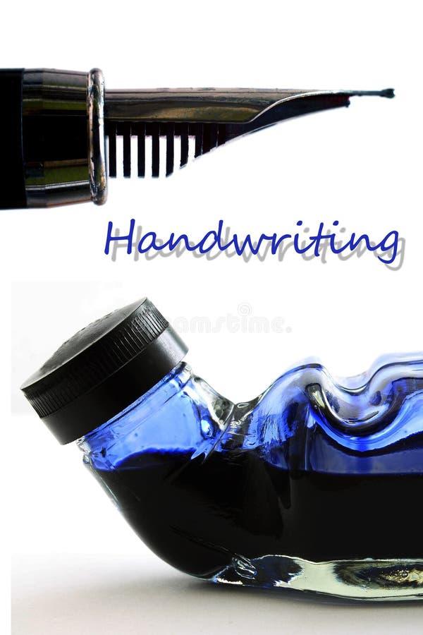Στυλός και μελάνι - γραφή - μάνδρα πηγών στοκ εικόνες