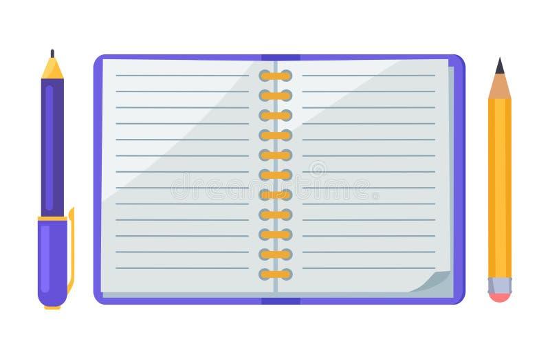 Στυλός και μολύβι, διανυσματικά εικονίδια απεικόνισης σημειωματάριων ελεύθερη απεικόνιση δικαιώματος