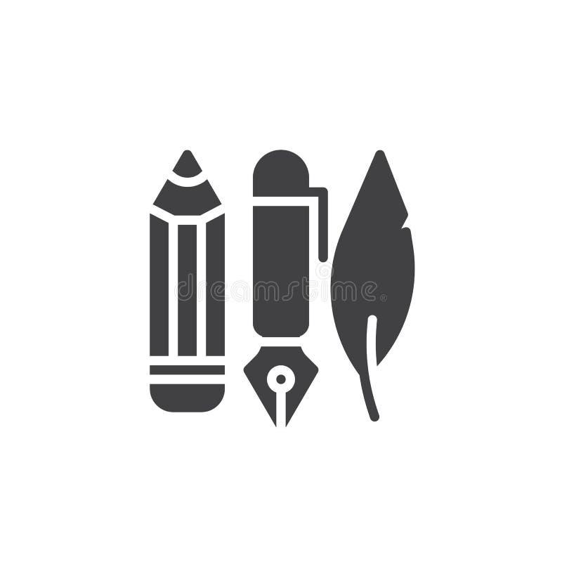 Στυλός μελανιού, μολύβι και διάνυσμα εικονιδίων φτερών απεικόνιση αποθεμάτων