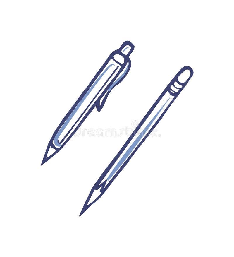 Στυλός με το μελάνι και αιχμηρό μολύβι για το γράψιμο του διανύσματος απεικόνιση αποθεμάτων